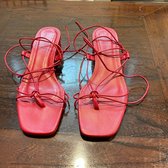 Zara red lace up sandals.